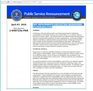 FBI WordPress Threat